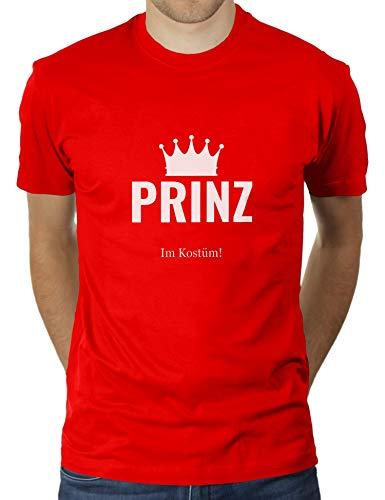 Red Bekleidung Erwachsene Tee (Prinz in Kostüm - Faschingskostüm Karnevalskostüm - Herren T-Shirt von KaterLikoli, Gr. M, Red)