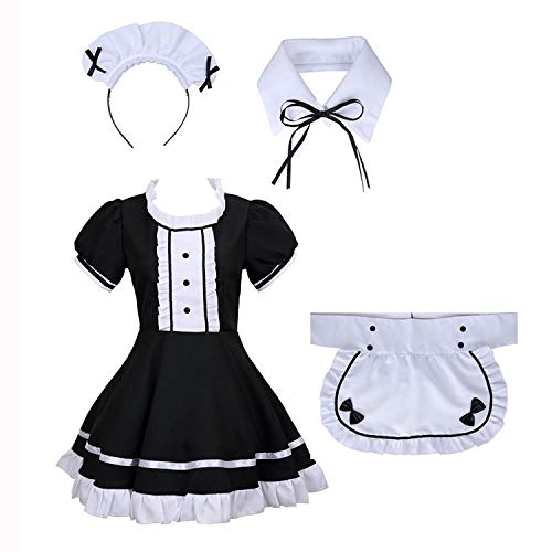 tzm2016 French Maid Outfit Damen Lolita French Maid Cosplay Kostüm, 4 PCS als Set inkl. Kleid; mit Kopfbedeckungen; Schürze; Fake Halsband (schwarz) - Dienstmädchen Kostüm 20er Jahre