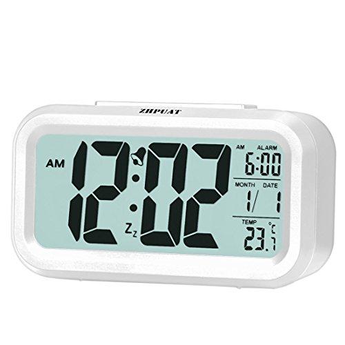 ZHPUAT Digital-Wecker Digitaluhr große LCD-Ziffern mit Hintergrundbeleuchtung Weiß