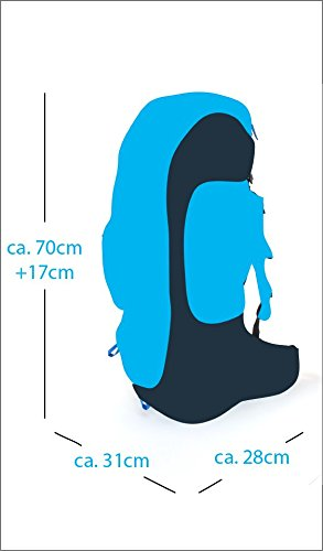 Trekkingrucksack 60 + 10 Liter Tashev Kentaurus 60 Wanderrucksack aus Cordura® mit Trinksystem Vorrichtung (Hergestellt in Europa) (Schwarz & Grau & Orange) Grau-Grün