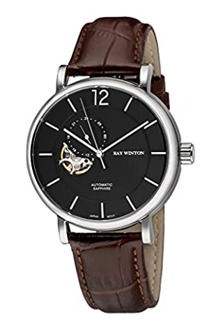 Ray Winton Men's WI0605 Automatic Analog Skeleton Black Dial Croc-Embossed Genuine Brown Leather