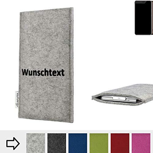 flat.design Handy Hülle Porto für Allview X4 Xtreme personalisierbare Handytasche Filz Tasche Name Wunschtext Case fair