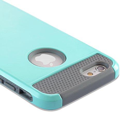 iPhone 6S Plus Hülle technext020 Schutzhülle für iPhone 6S Plus Slim Hybrid Dual Layer stoßfest Hartkunststoff Silikon Hard Cover für Apple iPhone 6S Plus Stoßfänger Abdeckung Rosegold Rosa grün