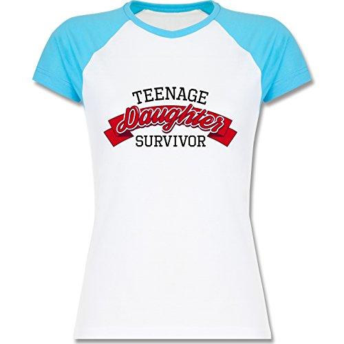 Muttertag - Teenage Daughter Survivor - zweifarbiges Baseballshirt / Raglan T-Shirt für Damen Weiß/Türkis