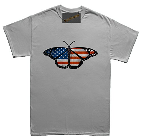 Renowned USA Flag Inside Butterfly Wings Unisex - Kinder T Shirt Grau