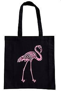 Einkaufstasche Motiv Flamingo Vogel schwarz Baumwolle Einkaufsbeutel Stoffbeutel Baumwollbeutel bedruckt