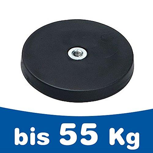 Neodym Magnet-System gummiert Innengewinde - Durchmesser: Ø 22 mm bis Ø 88 mm - Innen-Gewinde: M4 bis M6 - Haftkraft bis 55 kg - NdFeB Magnetsysteme mit Gummimantel - Anti-Rutsch-Beschichtung, Größe:Ø 22mm   M4   Haftkraft 3kg