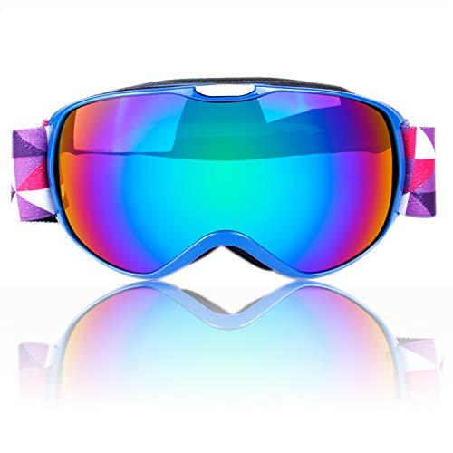 Stynice Anti-Fog Skibrille Kinder, Ski-Brille Snowboard Doppel-Objektiv mit Rahmen - OTG UV-Schutz Snowboardbrille für Skifahren Skaten Snowboarden