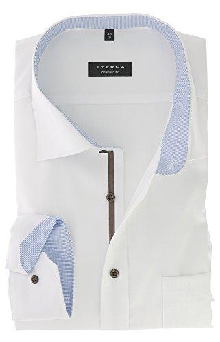 Eterna Comfort Fit Business Herren Hemd unifarben langarm bügelfrei mit Patch 100 % Baumwolle Weiß