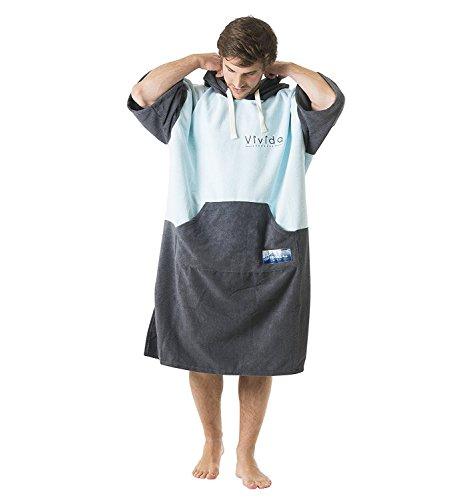 Vivida Lifestyle Poncho mit Kapuze Handtuch und Umziehilfe am Strand, beim Surfen und Schwimmen verwendbar - Blau/Grau, M (Junior)