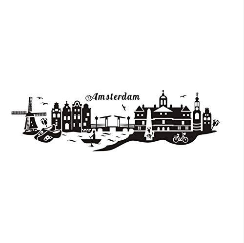 Miss Zhang's shop Adesivi Murali Adesivo da Parete Landmark Amsterdam City Famous Intero Paesaggio Impermeabile Arte Decalcomania del Vinile Bar Cafe Soggiorno 41X139Cm