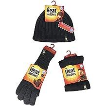 Heat Holders - Herren Thermische Winter-Vlies-Kabel Wollmütze, Nackenwärmer und Handschuhe gesetzt (HAT, NW & GLOVES)