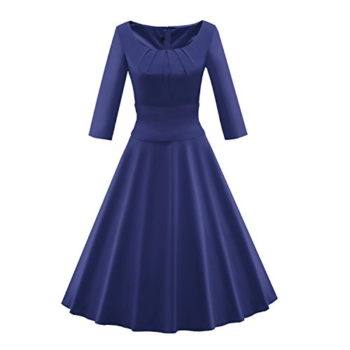 LUOUSE Vintage Retro Rockabilly Kleid Cocktailkleider Party Kleid, 3/4 Ärmel V110-Blau