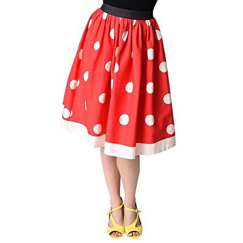 Kostüm Maus Sexy Miss - Amphia - Damen-Weihnachts-Polka-Punkt-Druck-Knie-Rock - Frauen-beiläufige Weihnachtspunkt-Aufflackern-elastische hohe Taille Cosplay-Ballkleid-Rock(Rot,XL)