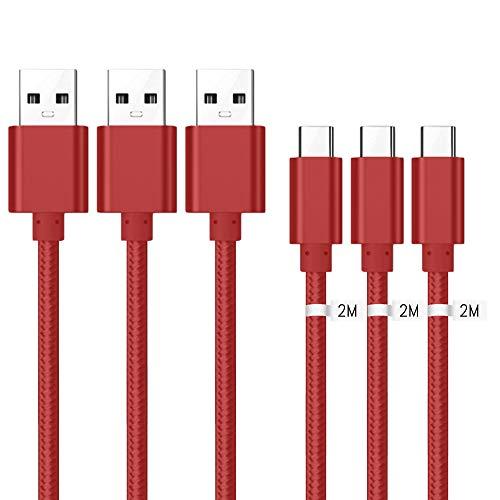 Kit Me Out Cavo USB C, Trasferimento Dati e Ricarica Rapida, Intrecciato Trecciato Antigroviglio Nylon, Cavi USB Type C [3 Pezzi 2M] per Xiaomi Redmi Note 7 [3.1 Amp] USB Typ C Cavo - Rosso