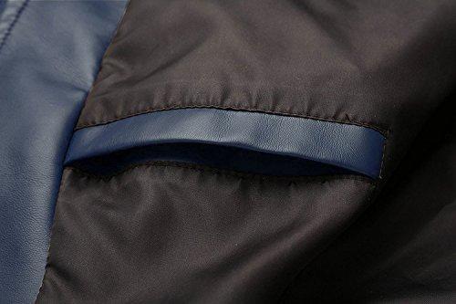 ZSHOW Herren Faux Lederjacke Stehkragen Jacke mit Fleecefutter Dunkel Blau