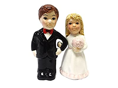 Bride and Groom Pink Rose Magnetic Salt and Pepper Shakers from Pacific Trading