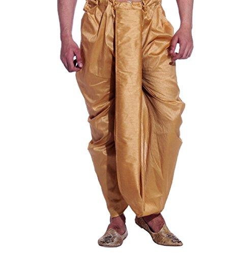 Royal Men's Silk Blend Free size ready to wear traditional dhoti (Bronze)