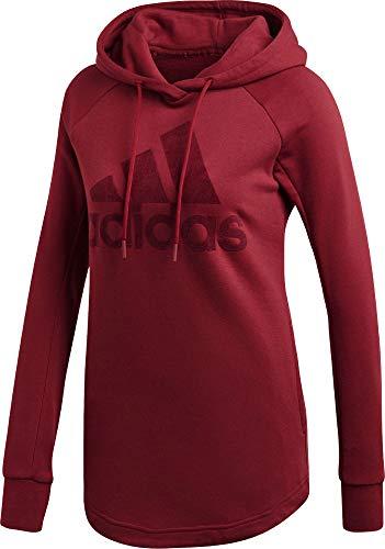 Maroon Kapuze Sweatshirt (adidas Damen Sports ID Open Hem Kapuzen-Sweatshirt, Noble Maroon, M)