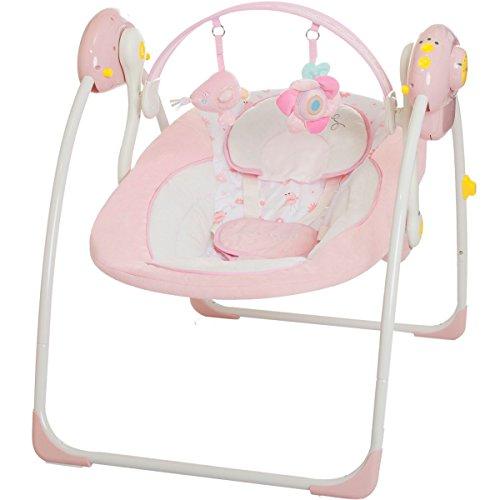 Babyschaukel (vollautomatisch 230V) mit 8 Melodien und 5 Schaukelgeschwindigkeiten (PINK)
