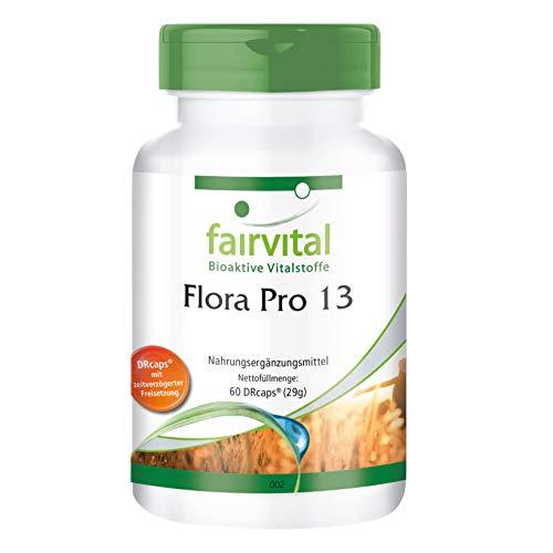 Flora Pro 13 - Probiotika Kapseln - HOCHDOSIERT - 60 Kapseln - 13 Bakterienstämme & 41,5 Milliarden Kulturen pro Kapsel