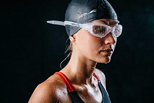 Swimming Goggles Silverslick Unisex Olympian Standard (White) NO LEAKS CLEAR VISION & MIRROR UV LENS COMFORT FIT Anti Fog *FREE DESIGNER CASE NOSE CLIP & EAR PLUGS (Aqua Sphere-schutzhülle)