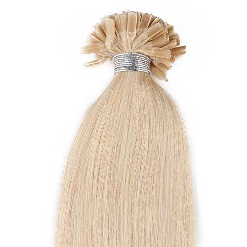Beauty7-50 STK Echthaarstraehnen Remy Echthaar Haarverlaengerung von U-tips 50cm 0,5g Bonding Echthaar Extensions Straehnen 20 Zoll Lichtblond #613