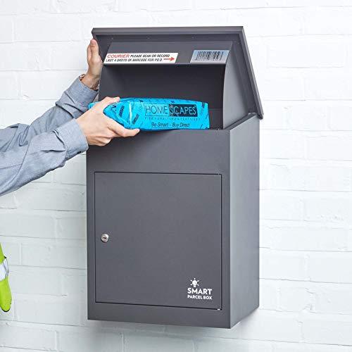 Smart Parcel Box - Boîte aux lettres / colis moyenne Gris foncé à accès frontal en acier