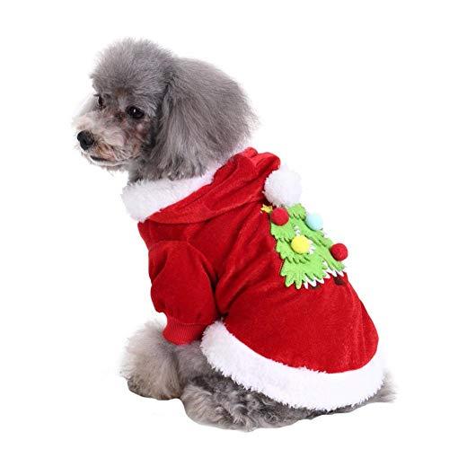 Hundekostüm Weihnachtsmannkostüm für kleine Hunde mit Kapuze, besticktes Weihnachtsbaum-Muster, bequem, weich und hautfreundlich, winddicht, warm, Weihnachtsanzug, für Weihnachten, Urlaub, ()