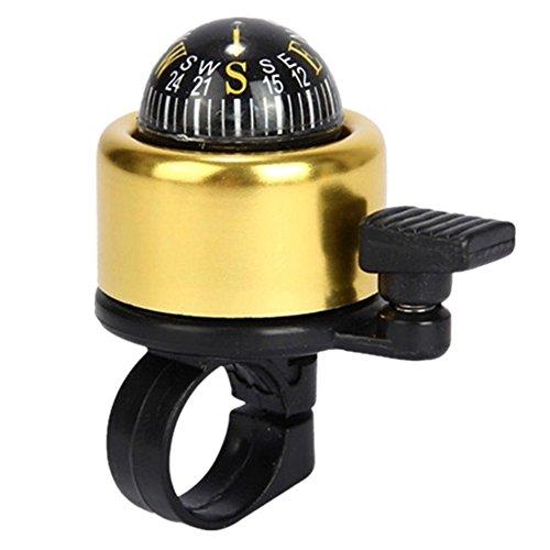 LEvifun Fahrradklingel Fahrrad Glocke Radfahren Glocke mit Kompass Miniglocke Klingel Klingelton Bunt Wasserdicht (Golden)
