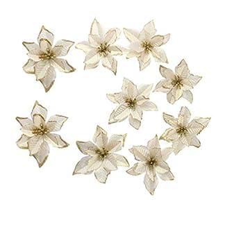 Happyyami 20 piezas de adornos de árbol de navidad de flor de pascua de brillo dorado flor de pascua artificial para decoraciones de navidad