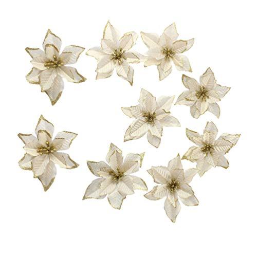 Amosfun 20pcs glitter fiori di natale stelle di natale decorazioni per alberi di natale ornamenti fai da te artigianato (dorato)