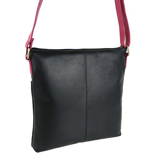 Custodia in pelle morbida da donna, misura media, due tonalità, Cross Bag Body by GiGi borsetta Blu (Black/Magenta/Bone)
