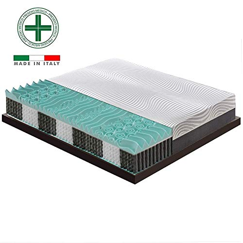 Materassiedoghe - materasso matrimoniale a molle indipendenti insacchettate sfoderabile e 4 cm di memory a 9 zone differenziate - ergonomico - antibatterico - elastico e indeformabile (160x200)