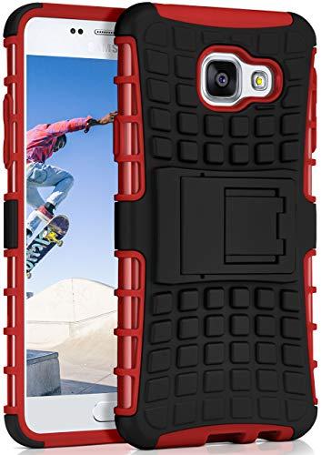 OneFlow® Outdoor Back-Cover aus Silikon + Kunststoff [Double-Layer] passend für Samsung Galaxy A3 (2016) | Extrem widerstandsfähiger 360° Schutz, Rot