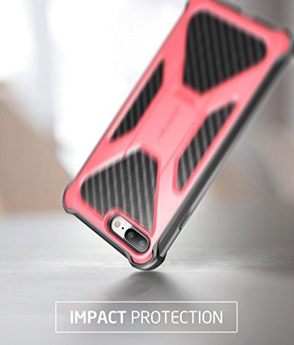 iPhone 8 Plus Hülle, i-Blason [Transformer] Outdoor Schutzhülle Dual Layer Handyhülle Stoßfest Hülle mit Ständer und Gürtelclip Kompatibel mit Apple iPhone 7 Plus / iPhone 8 Plus (Schwarz) Pink