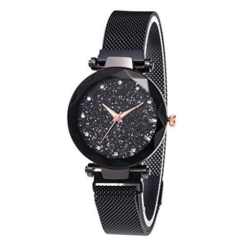 BEARCOLO Damen-Armbanduhr, wasserdicht, mit Stern-Zifferblatt, analoge Kristall-Quarz-Uhr mit magnetischer Schnalle, luxuriöse Damenuhr, Schwarz, 37 mm