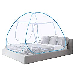 Mosquito Net Bed Canopy Pop Up Foldable Double Door Anti Mosquito Bites - 2 Years Warranty (180 * 200 * 150 CM)