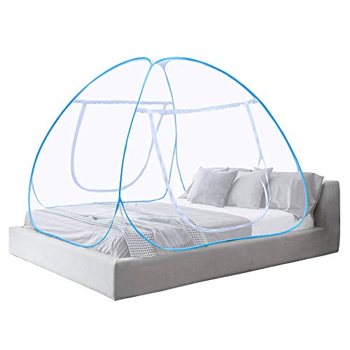 Moustiquaire ciel de lit Pop Up pliable double porte facile à installer avec fond anti Mosquito Bites pour lit Camping Voyage Home extérieur Bleu (King size, 180*200*150 cm)- 2 Ans de Garantie