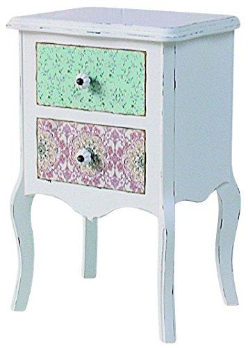 elbmoebel Commode de Chevet Table de Chevet Blanc de Style Vieilli campagnard Multicolore tiroirs en Bois Massif