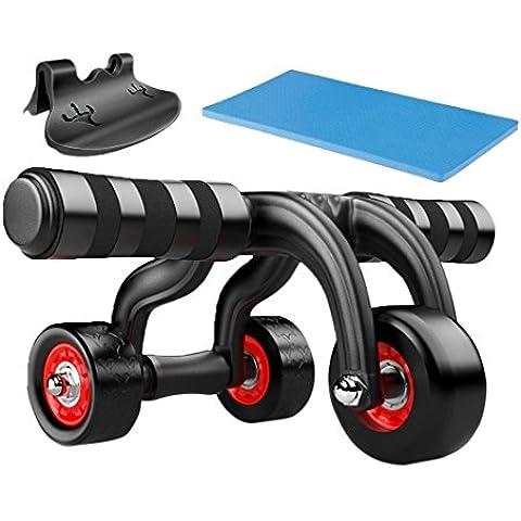 popsky 3-Wheel Triangular AB Roller con rodilleras y suelo tapón, rueda cuerpo Fitness entrenamiento de fuerza máquina Ab gimnasio herramienta ,Soporta 500 IB