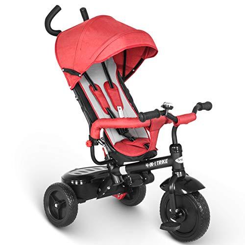 besrey Dreirad 4 in 1 Kinderdreirad Dreirad für Kinder Tricycle mit Schubstange Sonnendach ab 1 Jahre bis 6 Jahre ...