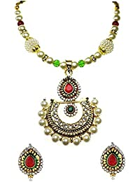 YouBella Gold Plated Pearl Necklace Jewellery Set With Earrings For Girls/Women