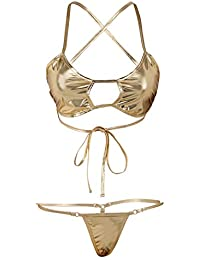 758461631dc1f Mpitude Women s Shiny Golden Bikini G String Set Gold Wet Look Front Open  Bandage Designer Bikini