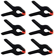 COOPIC 6-Pack 2.5 inch /6.5cm Black Backdrop Clamps for Nylon Muslin Paper Photo Background, Reflectors and Other Photograph