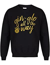 Kelham Print Unisex Slogan Sweater Jumper Gin-gle all The Way Black 3bc32526a3fd