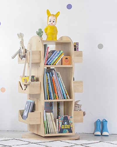 MesaSilla Kinder Bücherregal, Regal, drehbar, 100% Massivholz, Natur (Kinder Bücherregale Verstellbare)