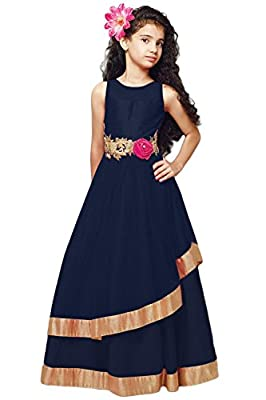 Cartyshop Girl's Navy Blue Net Embroidery Anarkali Flared ReadyMade PartyWear Kids Gown Dresses