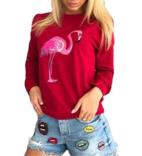 OUFour Herbst Winter Damen Sweatshirt Rundhals Langarm Oberteile Pullover T-Shirt Freizeit Flamingo Druck Tops Jumper Pulli Blouse