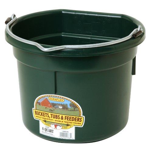 miller-manufacturing-plastic-flat-back-heavy-loads-bucket-horses-dark-green-8qt